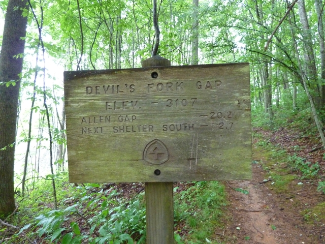 Mileage Sign at Devil Fork